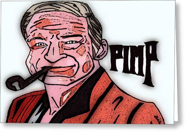Hugh Hefner Greeting Cards - Hugh Hefner Pimp Greeting Card by John Rizzo