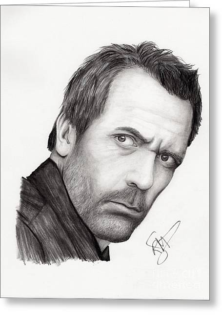 Charcoal Portrait Greeting Cards - Hugh Laurie Greeting Card by Rosalinda Markle