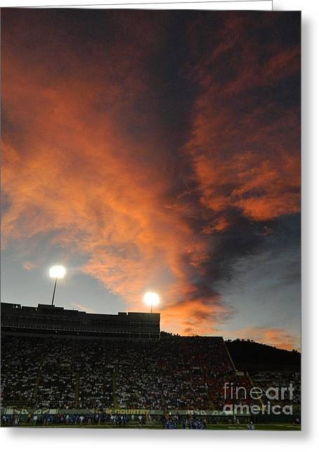 Csu Greeting Cards - Hughes Stadium Sunset Greeting Card by Sara  Mayer