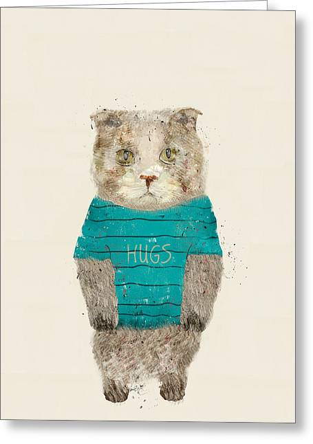 Kitten Prints Greeting Cards - Hugs The Kitty Greeting Card by Bri Buckley