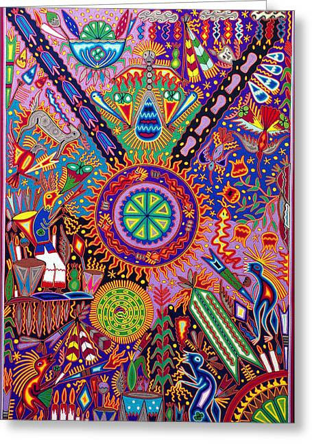 Spiritual Tapestries - Textiles Greeting Cards - Huichol Shamanic Ceremony Greeting Card by Andrew Osta