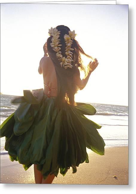Long Skirt Greeting Cards - Hula At Sunrise Greeting Card by Tomas del Amo - Printscapes