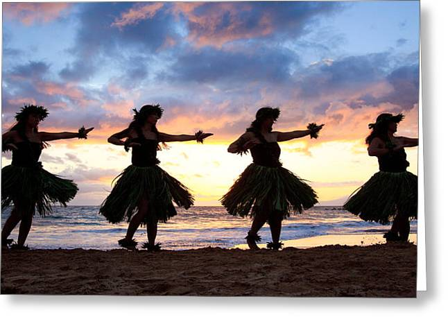 Full Skirt Greeting Cards - Hula At Sunset Greeting Card by David Olsen