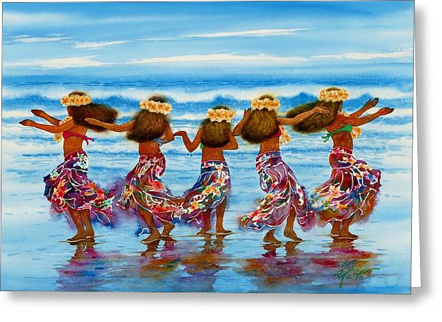 Hula Dancers 2 Greeting Card by John YATO