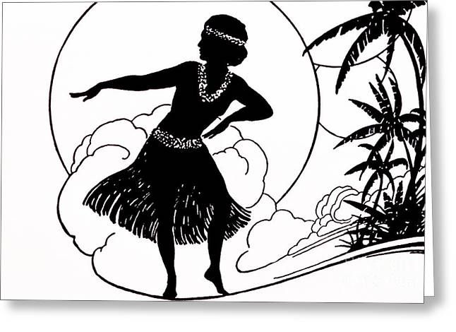 Blanding Greeting Cards - Hula Girl II Greeting Card by Hawaiian Legacy Archive - Printscapes