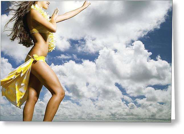 Long Skirt Greeting Cards - Hula on Kauai Greeting Card by Kicka Witte - Printscapes