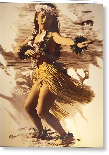 Island Cultural Art Greeting Cards - Hula On The Beach Greeting Card by Himani - Printscapes