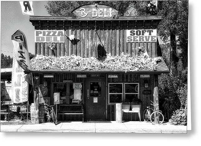 Hulett Wyoming Deli Bw Greeting Card by Thomas Woolworth