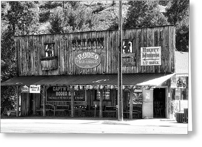 Hulett Wyoming Saloon Bw Greeting Card by Thomas Woolworth