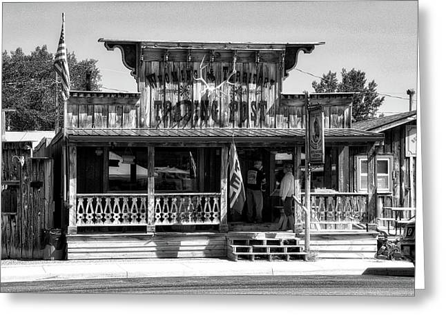 Hulett Wyoming Trading Post Bw Greeting Card by Thomas Woolworth