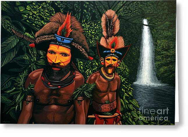 Scenery Greeting Cards - Huli men in the jungle of Papua New Guinea Greeting Card by Paul Meijering