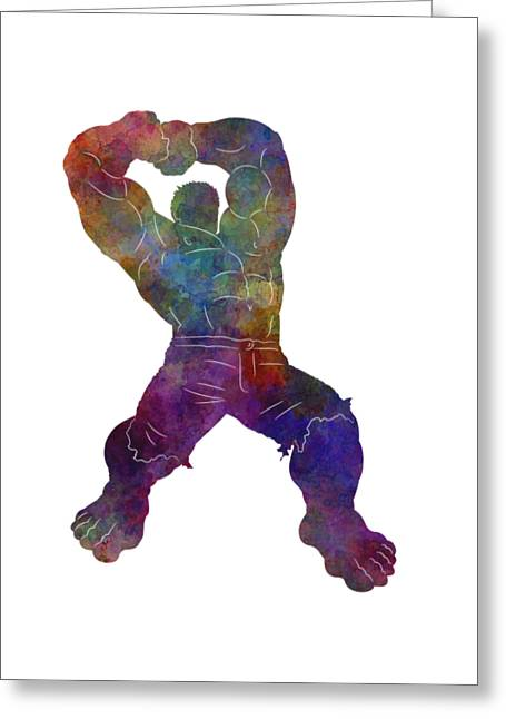 Hulk 02 In Watercolor Greeting Card by Pablo Romero