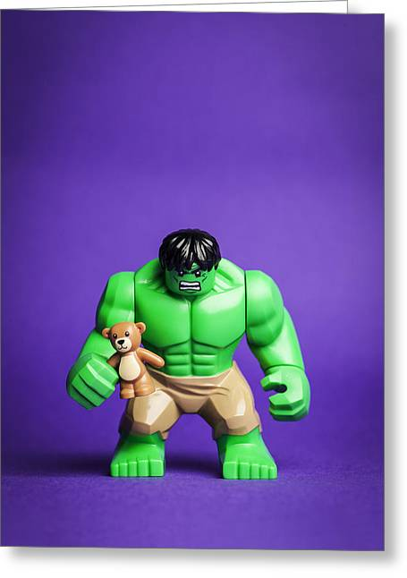 Lego Greeting Cards - Hulk and His Teddy Bear Greeting Card by Samuel Whitton