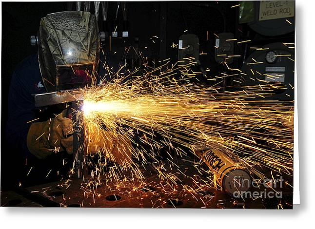 Obscured Face Greeting Cards - Hull Maintenance Technician Welds Scrap Greeting Card by Stocktrek Images