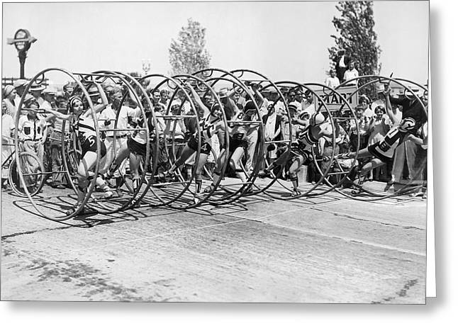 Human Hoop Race In La Greeting Card by Underwood Archives