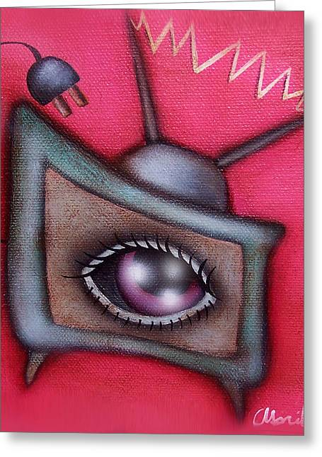 Human Tv Greeting Card by  Abril Andrade Griffith