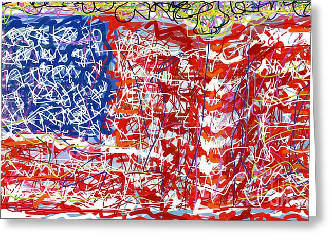 Humanity Behind The Flag Greeting Card by Robert Yaeger