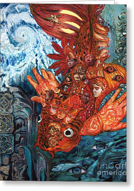 Human Spirit Paintings Greeting Cards - Humanity Fish Greeting Card by Emily McLaughlin