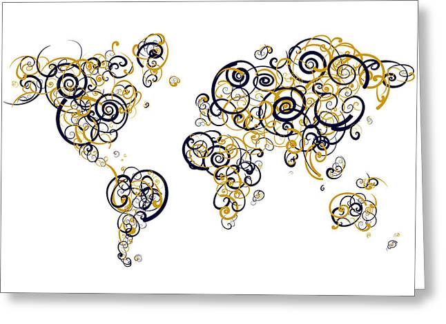 Global Hawk Greeting Cards - Humber College Colors Swirl Map of the World Atlas Greeting Card by Jurq Studio