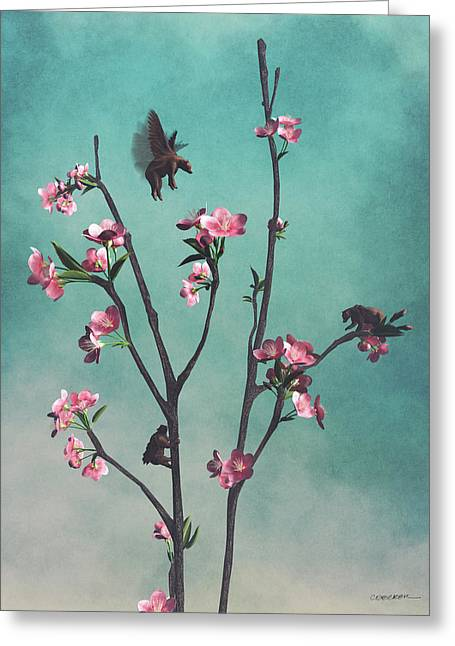 Hummingbears Greeting Card by Cynthia Decker