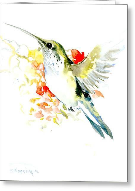 Hummingbird And Flowers Greeting Card by Suren Nersisyan