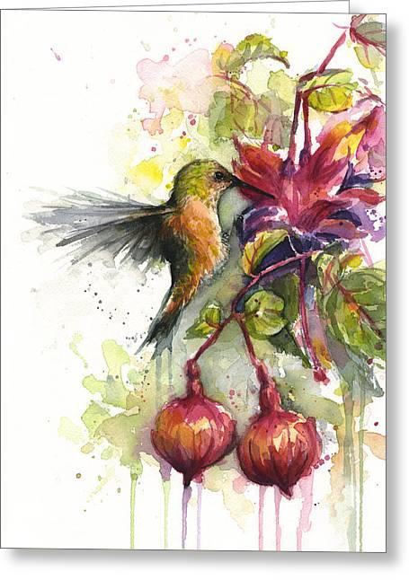Hummingbird And Fuchsia Greeting Card by Olga Shvartsur