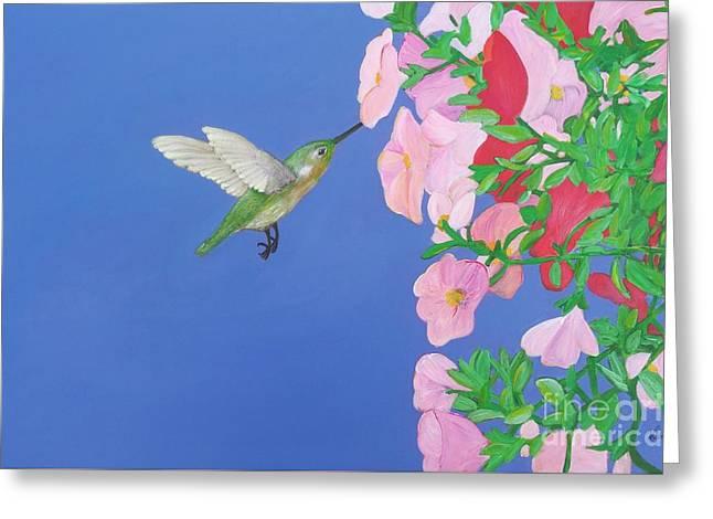 Hovering Greeting Cards - Hummingbird and Petunias Greeting Card by Karen J Jones