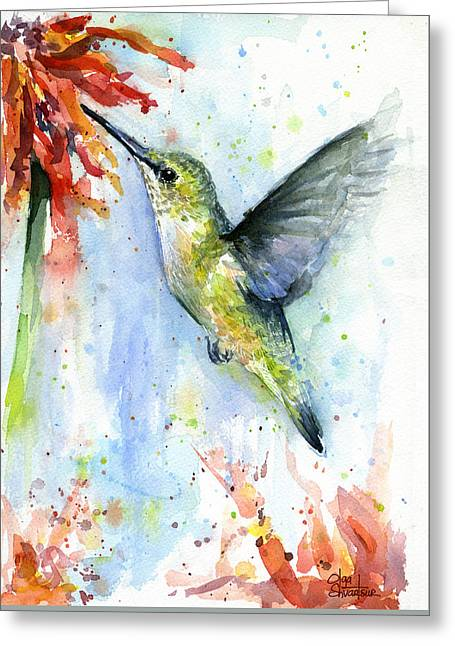 Hummingbird And Red Flower Watercolor Greeting Card by Olga Shvartsur