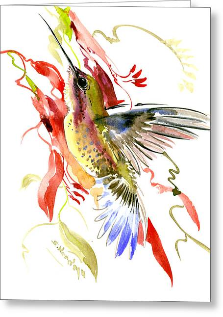 Hummingbird And Tropical Plants Greeting Card by Suren Nersisyan