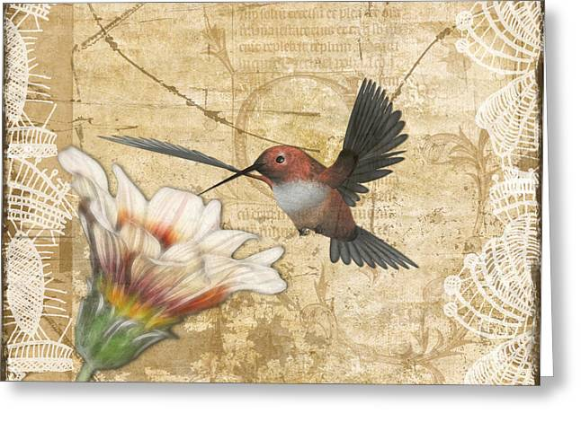 Hummingbird and Wildflower Greeting Card by Lesley Smitheringale