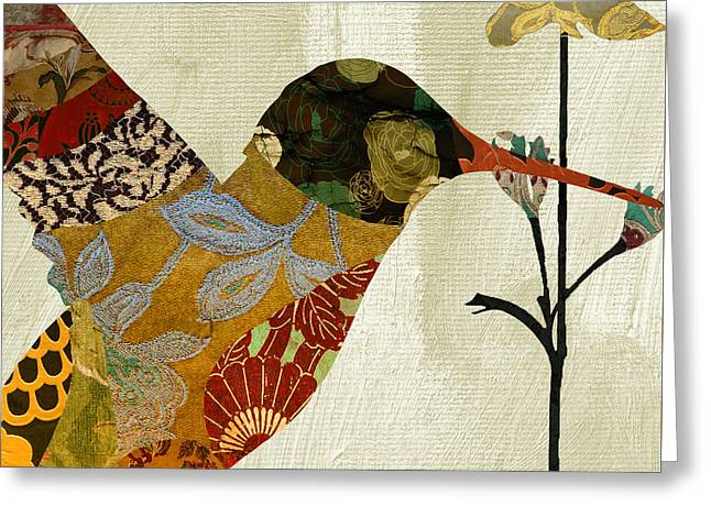 Tapestries Textiles Greeting Cards - Hummingbird Brocade III Greeting Card by Mindy Sommers
