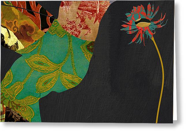 Hummingbird Brocade Iv Greeting Card by Mindy Sommers