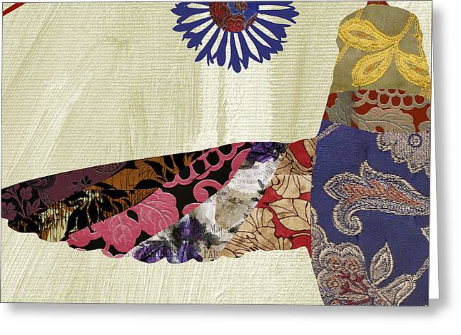 Hummingbird Brocade Greeting Card by Mindy Sommers