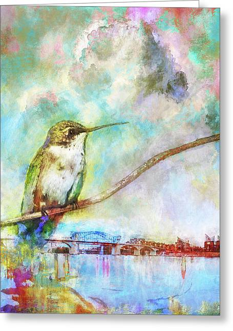 Hummingbird By The Chattanooga Riverfront Greeting Card by Steven Llorca
