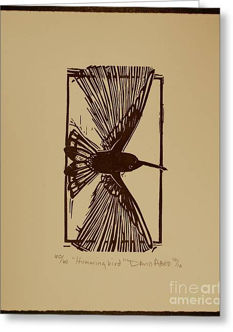 Block Print Drawings Greeting Cards - Hummingbird Greeting Card by David Abed