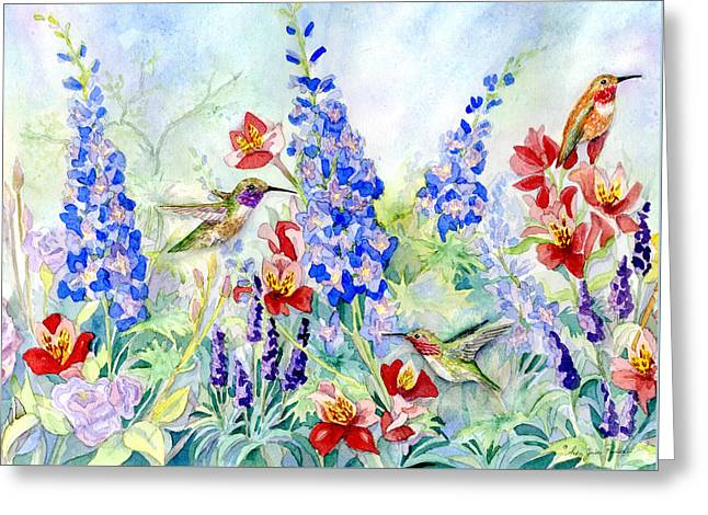 Hummingbird Garden In Spring Greeting Card by Audrey Jeanne Roberts