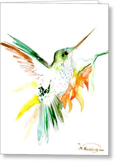 Hummingbird Green Orange Red Greeting Card by Suren Nersisyan