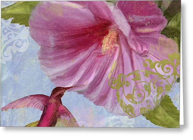 Hummingbird Hibiscus I Greeting Card by Mindy Sommers