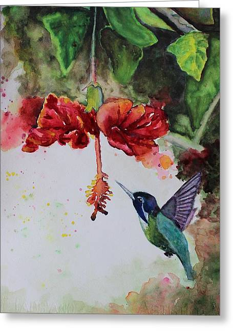Hummingbird In Flight Greeting Card by Carol Lytle