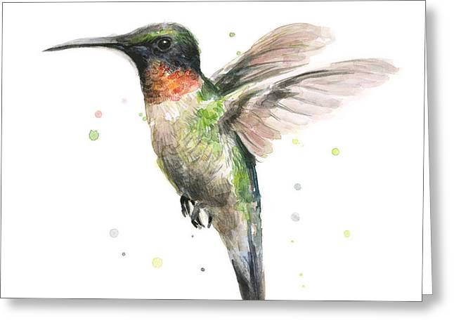 Colorful Birds Greeting Cards - Hummingbird Greeting Card by Olga Shvartsur