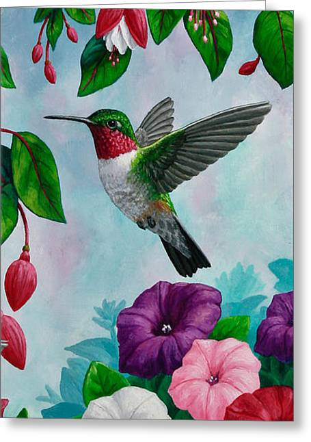 Ruby Throated Hummingbird Greeting Cards - Hummingbird Phone Case V Greeting Card by Crista Forest