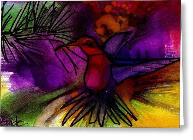 Moss Green Drawings Greeting Cards - Hummingbird Greeting Card by Tina Guide