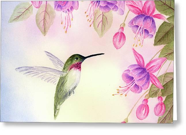 Hummingbird with Fuchsia Greeting Card by Leona Jones