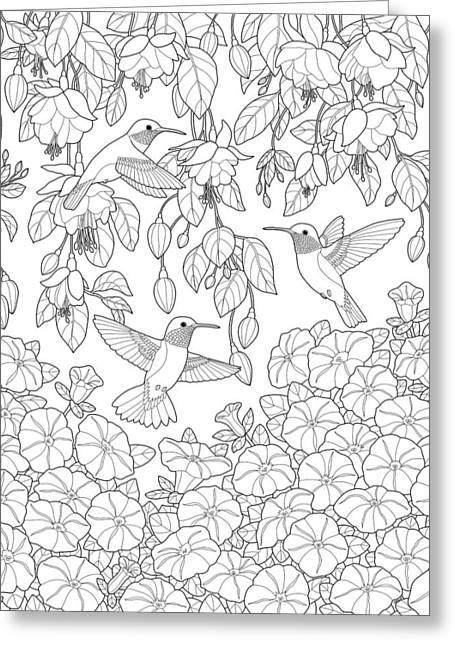 Hummingbirds And Flowers Coloring Page Greeting Card by Crista Forest