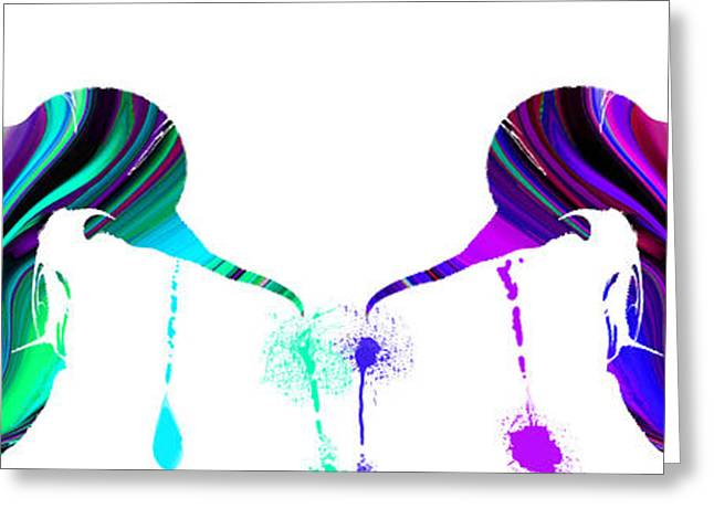Focal Color Art Greeting Cards - Hummingbirds Splashed by Colors Greeting Card by Stephen  Killeen