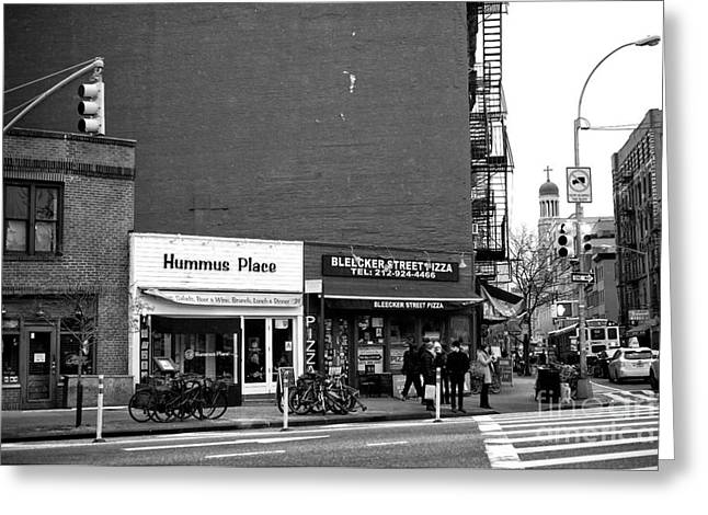 Hummus Place In The Village Greeting Card by John Rizzuto