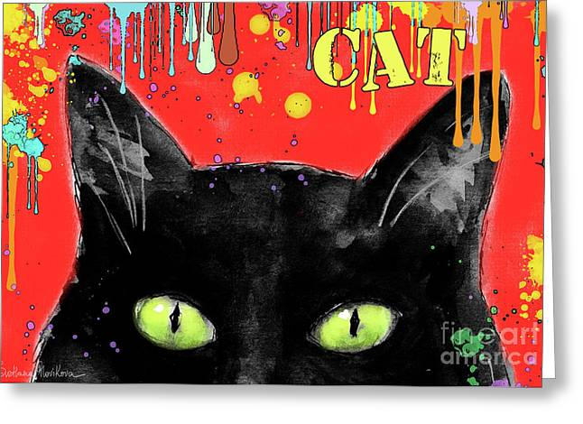 Cat Drawings Greeting Cards - humorous Black cat painting Greeting Card by Svetlana Novikova