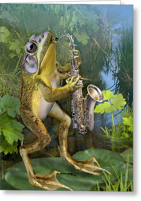 Nature Scene Greeting Cards - Humorous Frog Plying Saxophone Greeting Card by Gina Femrite