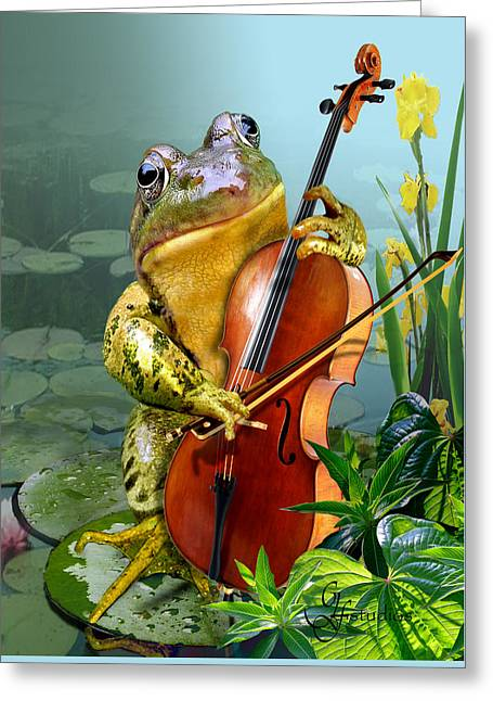Humorous Scene Frog Playing Cello In Lily Pond Greeting Card by Regina Femrite
