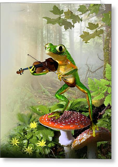 Fantasy Tree Greeting Cards - Humorous Tree Frog Playing a Fiddle Greeting Card by Gina Femrite